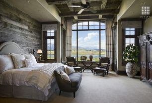 Eclectic Master Bedroom with Reclaimed lumber products idaho barn wood blend, Built-in bookshelf, Box ceiling, Ceiling fan