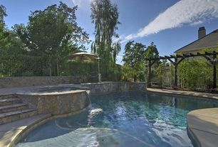 Traditional Swimming Pool with Gardensun 41,000 BTU Stainless Steel Propane Patio Heater, exterior stone floors, Fence