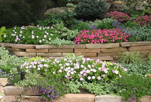 Traditional Landscape/Yard with exterior stone floors, Raised beds, Stacked stone garden edging