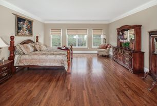 Traditional Master Bedroom with Built-in bookshelf, Hardwood floors, Crown molding, Standard height