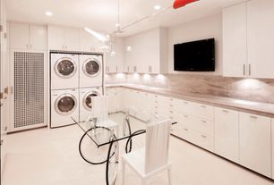 Contemporary Laundry Room with Paint, Fontana Arte Gae Aulenti Tour Table, White lacquered cabinets, Chandelier, laundry sink