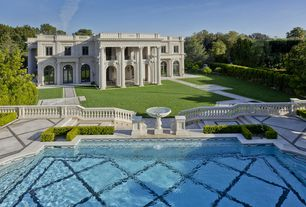 Traditional Swimming Pool with Pathway, exterior stone floors, Bird bath, Deck Railing, Fountain, Other Pool Type, Fence