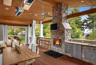Craftsman Porch with outdoor pizza oven, Fence, Outdoor kitchen, Screened porch, Transom window