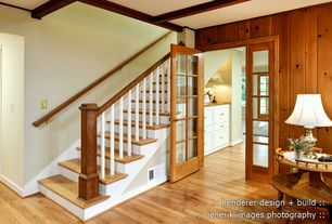 Craftsman Staircase with Standard height, Hardwood floors, Exposed beam, Paint, Knotty pine wood wall paneling