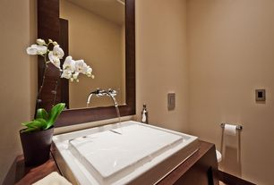 Contemporary Powder Room with Chrome olus wall mounted vessel bathroom faucet, Infinity pool sink, Vessel sink, Powder room