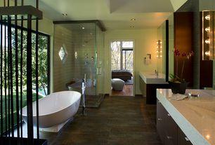 Contemporary Master Bathroom with picture window, Flush, European Cabinets, Freestanding, Rain shower, Quartz countertop