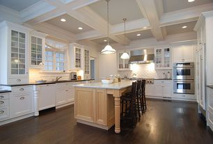 Traditional Kitchen with Built In Panel Ready Refrigerator, double wall oven, Inset cabinets, full backsplash, Casement