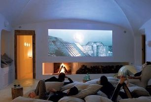 Contemporary Home Theater with Carpet, Standard height