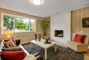 Contemporary Living Room with flush light, Fireplace, Casement, Volo - cooper sofa, distressed leather, Carpet, Paint