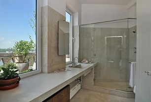 Modern Master Bathroom with Flat panel cabinets, Limestone counters, Undermount sink