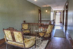 Craftsman Hallway with High ceiling, Hardwood floors, Pendant light, Transom window, interior wallpaper, French doors