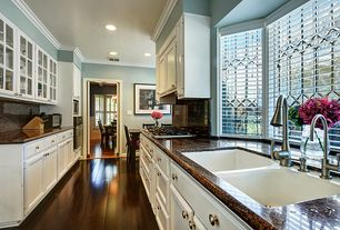 Traditional Kitchen with Crown molding, Inset cabinets, Glass panel, Breakfast nook, Raised panel, Hardwood floors, U-shaped