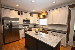 Traditional Kitchen with Undermount sink, L-shaped, White subway tile 3x6 glossy, Flush, Crown molding, Subway Tile