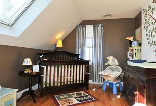 Traditional Kids Bedroom with Paint, Pottery barn baby - madison fixed gate crib, Built-in bookshelf, Hardwood floors