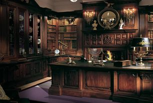 Traditional Home Office with Wall sconce, Crown molding, flush light, Built-in bookshelf, Carpet