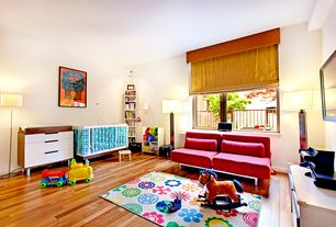 Contemporary Playroom with Hardwood floors, Built-in bookshelf