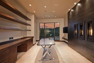 Contemporary Home Office with Fireplace, Built-in bookshelf, Standard height, picture window, can lights, insert fireplace