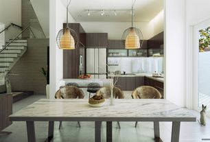 Contemporary Dining Room with French doors, Concrete tile , High ceiling, Pendant light
