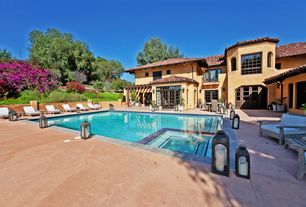 Mediterranean Swimming Pool with exterior tile floors, French doors, Trellis, Pool with hot tub, Pathway, Arched window
