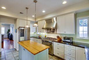 Cottage Kitchen with Flat panel cabinets, Restoration hardware - clemson classic single pendant - satin nickel, gas range