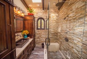 Country 3/4 Bathroom with Ms international golden honey ledger panel 6 in. x 24 in. natural quartzite wall tile, Exposed beam