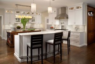 Contemporary Kitchen with Ultracraft Destiny Plainview Cabinetry, Ms International  Carrara White Marble, Glass panel