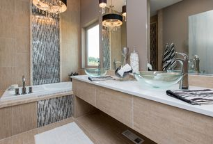 Contemporary Master Bathroom with Double sink, Signature Hardware Clear Round Glass Vessel Sink, Quartz countertop