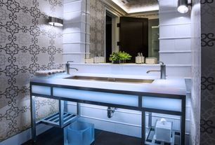 Contemporary Powder Room with Large Ceramic Tile, Powder room, Vinyl floors, Wall sconce, Simple marble counters