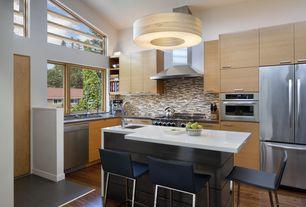 Contemporary Kitchen with European Cabinets, Flush, Kitchen island, Walnut - Mesa Brown 5 in. Engineered Hardwood Wide Plank
