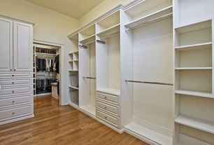 Traditional Closet with Hardwood floors, High ceiling, Built-in bookshelf