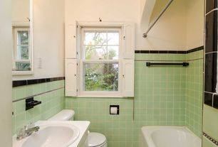 Traditional 3/4 Bathroom with Built-in bookshelf, Wood counters, Daltile Rittenhouse Square, tiled wall showerbath