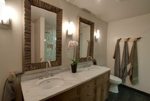Rustic Full Bathroom with Standard height, Complex marble counters, Wall sconce, partial backsplash, Framed Partial Panel