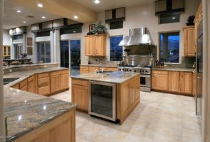 Craftsman Kitchen with limestone tile floors, U-shaped, Inset cabinets, Paint 1, Wall Hood, Kitchen island, Wine refrigerator
