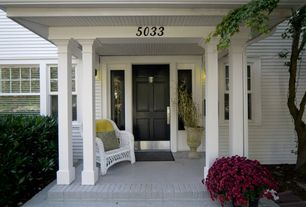 Traditional Front Door with exterior brick floors, Outdoor White Wicker Chair, exterior stone floors