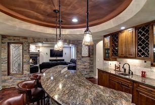 Traditional Basement with Ms International Niagara Gold Granite, Urban Renewal Pendant, tv wall mount