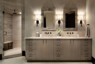 Contemporary Master Bathroom with Wall sconce, Vinyl floors, Flush, Torch sconce, can lights, Corian counters, Shower, Paint