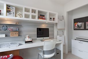 Modern Home Office with Carpet, Lateral file cabinet, Built-in bookshelf