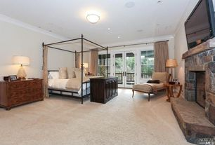 Craftsman Master Bedroom with flush light, Carpet, stone fireplace, French doors, Credenza, Crown molding