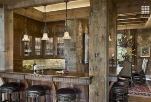 Rustic Bar with Columns, Pendant light, Exposed beam, Hardwood floors, High ceiling