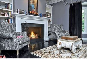 Traditional Living Room with Restoration hardware distressed ionic capital coffee table, High ceiling, Built-in bookshelf