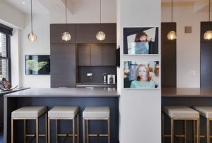 Contemporary Kitchen with Limestone counters, Standard height, Breakfast bar, can lights, Flush, full backsplash, L-shaped