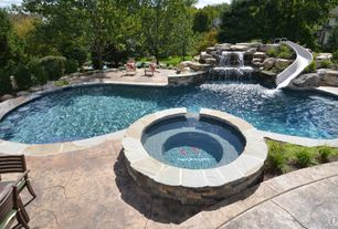 Contemporary Swimming Pool with exterior stone floors, Raised beds, Pool with hot tub, Fence, Pathway, picture window