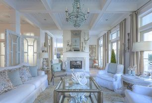 Cottage Living Room with Restoration hardware reproduction 18th c. french bergere chair - in natural