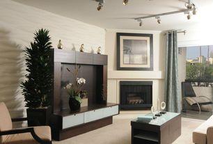 Contemporary Living Room with Carpet, flush light, interior wallpaper