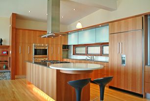 Modern Kitchen with Corian-Solid Surface Countertop in Silver Birch, High ceiling, European Cabinets, Breakfast bar, L-shaped