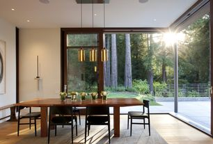 Modern Dining Room with Wide plank floors, Built-in ceiling speakers, Glass wall, Modern light fixture