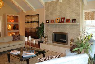 Modern Living Room with Hardwood floors, Built-in bookshelf, Exposed beam, flush light