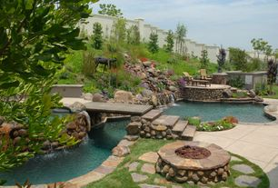 Rustic Swimming Pool with exterior stone floors, Fence, Fire pit, Pathway, Fountain