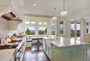 Country Kitchen with Paint 2, European Cabinets, Calacatta marble, Subway Tile, One-wall, Breakfast nook, can lights, Paint 1