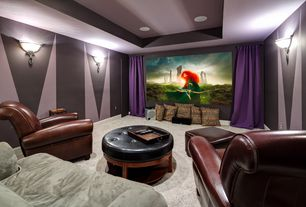 Art Deco Home Theater with Paint 1, Trey ceiling, Wall sconce, Built in surround sound, Carpet, Projector, Paint 2